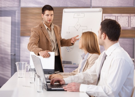 Confident young businessman presenting to colleagues, using whiteboard. photo