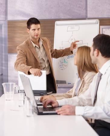present presentation: Goodlooking young businessman presenting over whiteboard to colleagues. Stock Photo