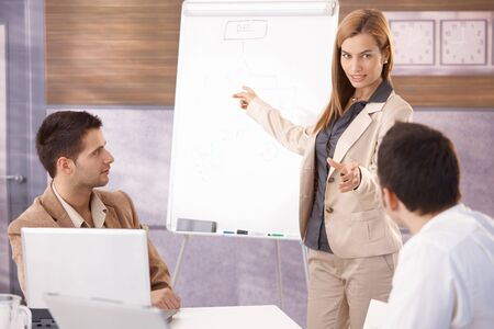 conducting: Beautiful young businesswoman presenting to male colleagues. Stock Photo