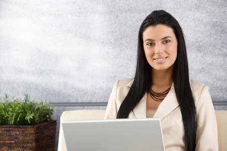 Pretty young businesswoman working on laptop, smiling in elegant office.
