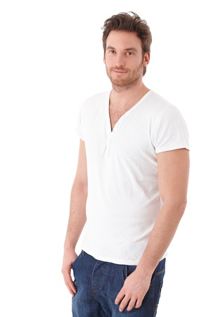 1 man only: Casual man smiling over white background.