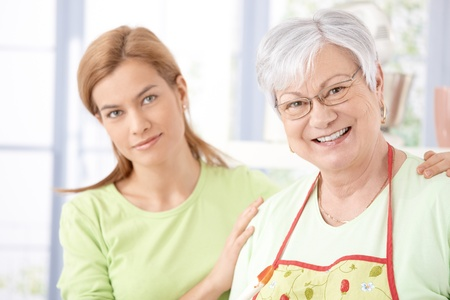 Portrait of senior mother and daughter smiling happily. Stock Photo - 9208703