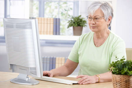 Senior woman sitting at desk, using computer at home. Stock Photo - 9208736