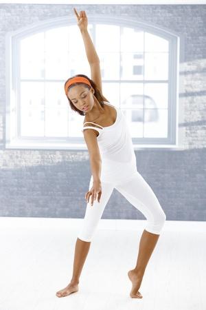 Ballerina exercising classical ballet dance. photo