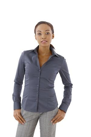 Ethnic woman in elegant business clothes posing in studio. Stock Photo - 9262418