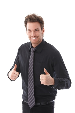 Successful confident businessman smiling thumbs up. Stock Photo - 9434663