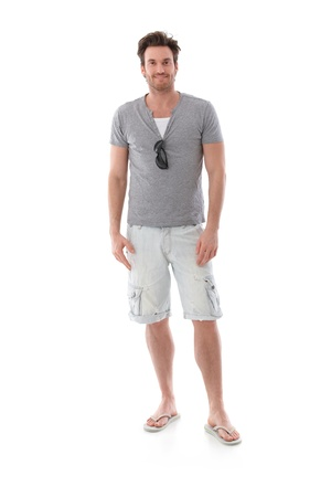 dressed up: Goodlooking young man dressed for summer. Stock Photo