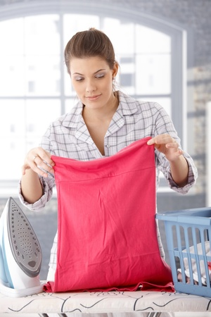 laundry room: Smiling woman doing housework, ironing laundry at home.