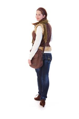 gingerish: Estudiante universitario de ir a la escuela, mirando hacia atr�s, sonriendo.