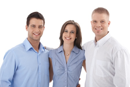 colleague: Casual business team portrait, young businesspeople standing hugging, smiling at camera.