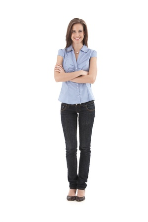 standing: Young pretty office worker girl standing with arms folded, smiling happily, isolated on white, full length. Stock Photo