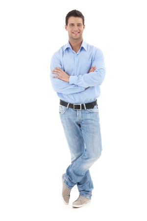 Portrait of casual businessman posing in studio with arms crossed, smiling at camera, full length, isolated on white. Stock Photo - 9562363