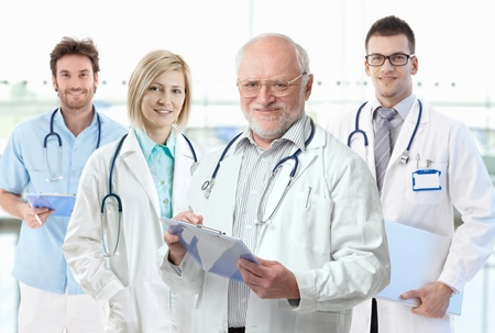 general knowledge: Team photo of healthcare workers, professor with medical students.� Stock Photo