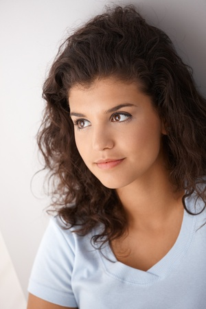 unsmiling: Closeup portrait of pretty girl, looking away.