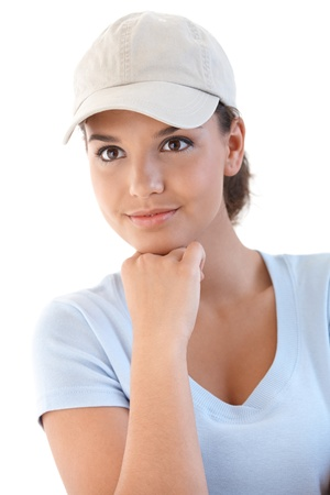 Portrait of young sporty girl in baseball cap. photo