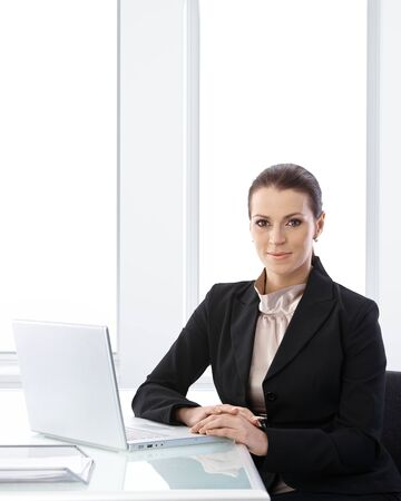 Businesswoman portrait in office, sitting at desk with laptop computer, smiling at camera, copyspace. Stock Photo - 9868487