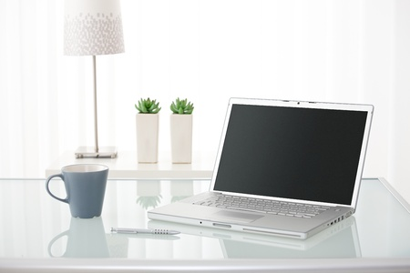 Still-life portrait of computer, pen, coffee mug on table, lamp and plants in bright environment. Stock Photo - 10373307