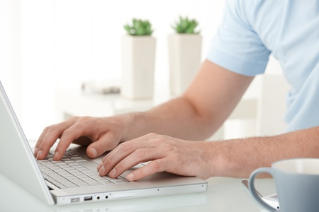 Male hands typing on laptop computer keyboard, closeup portrait. Stock Photo - 10373303