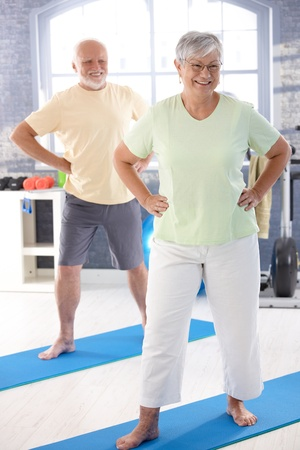Energetic elderly couple doing exercises in the gym. photo