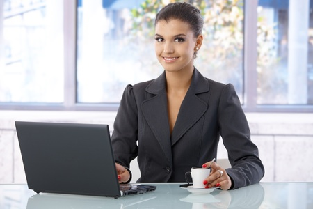 Attractive young businesswoman smiling in bright office, using laptop computer. photo