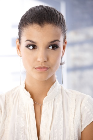 offish: Portrait of attractive girl looking away. Stock Photo