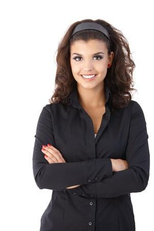 blusa: Retrato de segura hembra bastante joven, mirando a la c�mara.