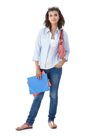 Attractive casual girl with folders.