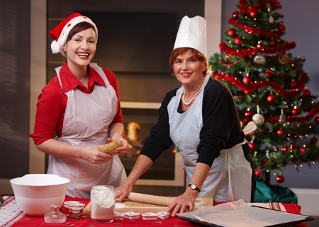Mother and daughter baking christmas cake together, looking at camera, smiling. photo