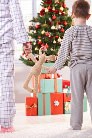 gift parcel: Mum, little son and toy bunny on christmas morning, going to unwrap gift parcel. Stock Photo