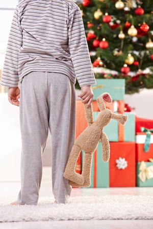Little boy in pyjama and toy bunny handheld standing at christmas tree waiting for presents in morning. photo