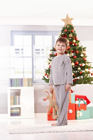 Smiling little kid on christmas morning standing at tree, holding toy bunny, looking at camera. Stock Photo - 10533295