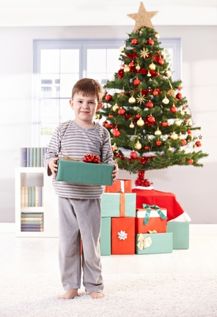 nighty: Happy little boy on christmas day holding wrapped gift in front of christmas tree, smiling at camera.