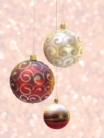 blured: Christmas decoration over blured shiny background.