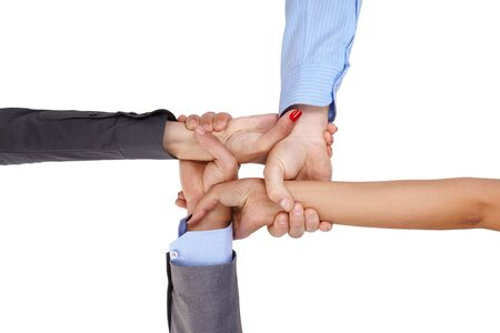linking together: Businesspeople linking arms, demonstrating business unity.