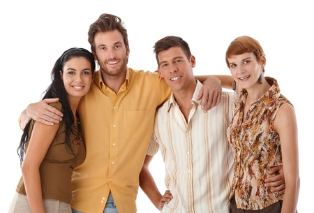 Portrait of young friends embracing. Stock Photo