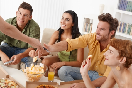 people having fun: Happy companionship together at home. Stock Photo