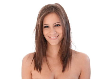 topless: Topless attractive female smiling happily, looking at camera.