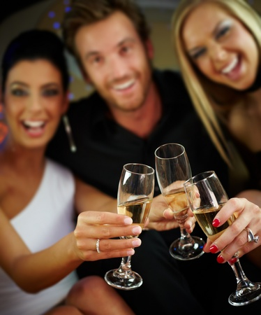 clinking: Happy people clinking glasses, celebrating, having fun. Stock Photo