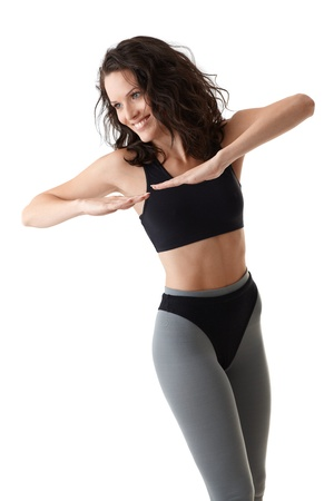 athletic wear: Happy pretty young woman exercising sport, cutout on white Stock Photo