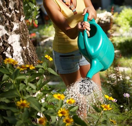 regando plantas: Mujer joven torso regar las plantas en el jard�n de verano. Foto de archivo