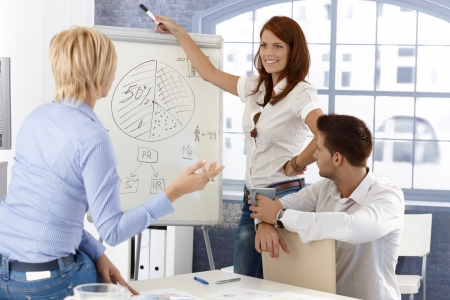 Business team lors de la présentation, dessin de diagramme d'affaires sur le tableau blanc, souriant.
