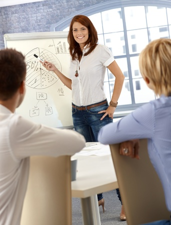 Businesswoman doing presentation, explaining diagram to coworkers, smiling confidently. photo