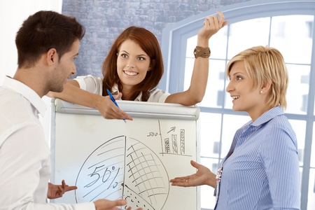Happy businessteam discussing diagram on whiteboard in meeting room, smiling. photo