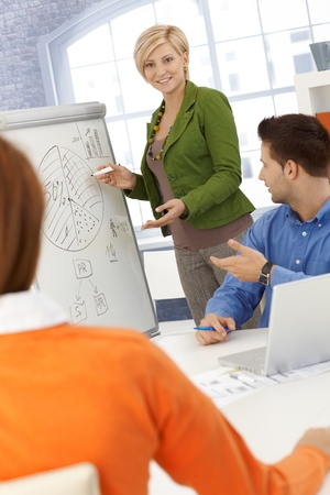 Businesswoman doing presentation, using whiteboard, explaining diagram to colleagues, smiling. Stock Photo - 12471761