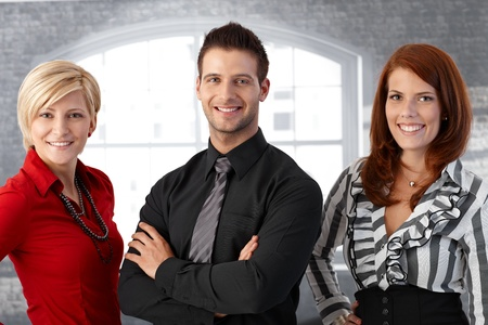 Official business team portrait, confident happy businesspeople smiling at camera. Stock Photo - 12472058