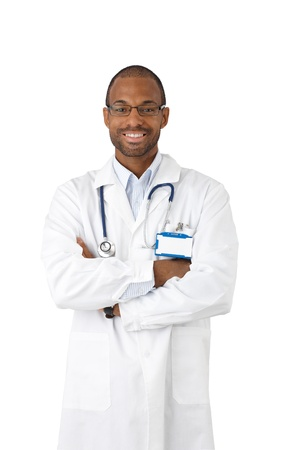 Happy afro doctor portrait, smiling with arms crossed, wearing stock, looking at camera, cutout on white. photo