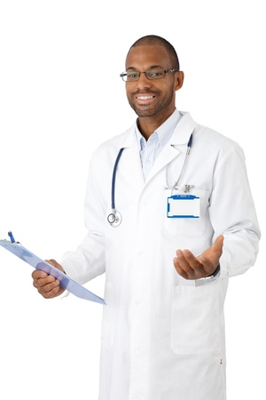 Happy medical specialist standing with clipboard handheld, beckoning. photo
