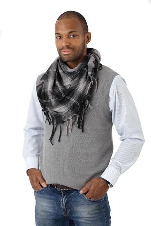 Portrait of handsome stylish afro man smiling confidently, isolated on white. Stock Photo - 12472100