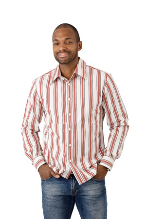 Portrait of happy ethnic guy in striped shirt, cutout on white. photo