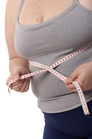 low fat diet: Closeup photo of body of fat woman while measuring waistline by tape measure. Stock Photo
